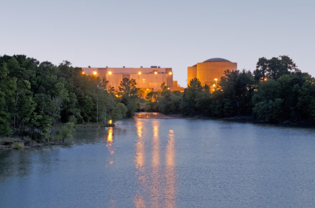 Sunrise exterior view of Catawba Nuclear Station along Lake Wylie, York County, South Carolina, SC.